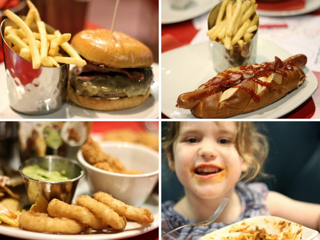 Collage of food at Hollywood Bowl - A little girl eating pasta, a hotdog and some onion rings