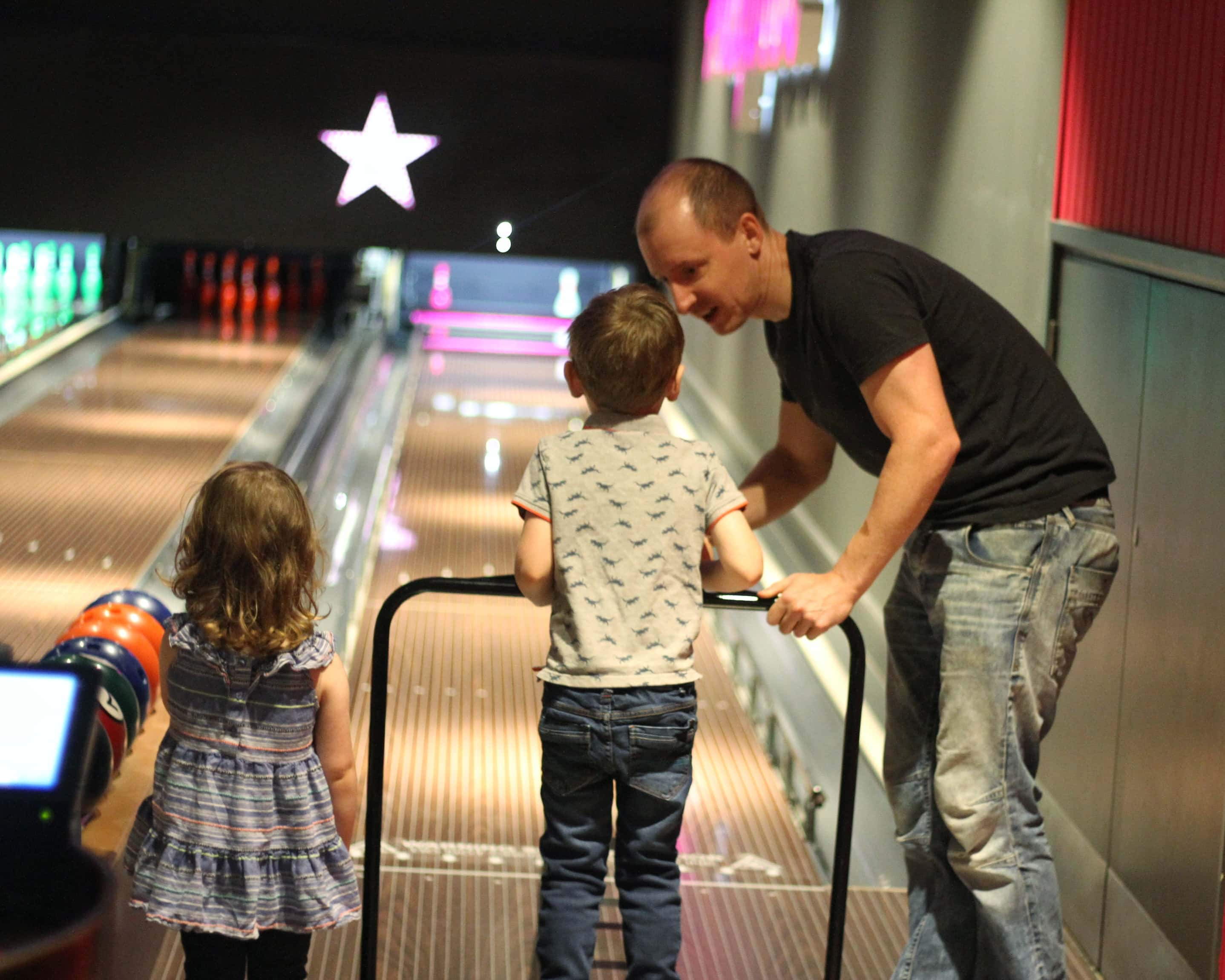 Biggest, Littlest and Daddy bowling at Hollywood Bowl