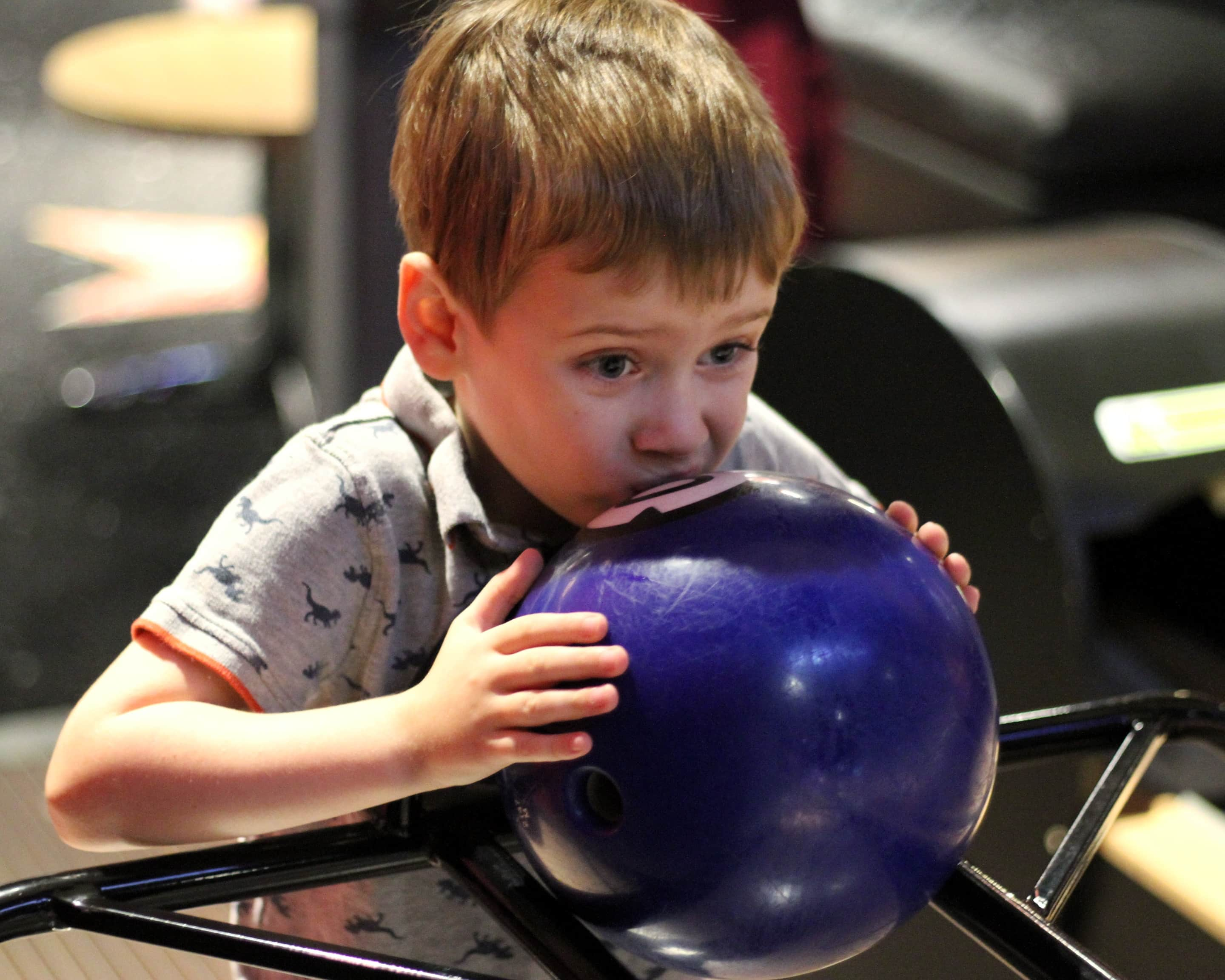 Biggest concentrating on a bowling ball