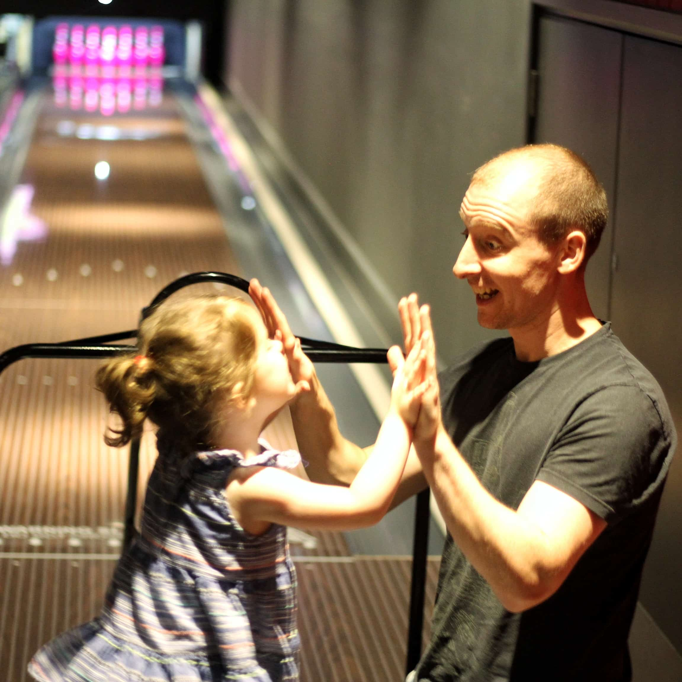 LIttlest high-fiving Daddy at Hollywood Bowl