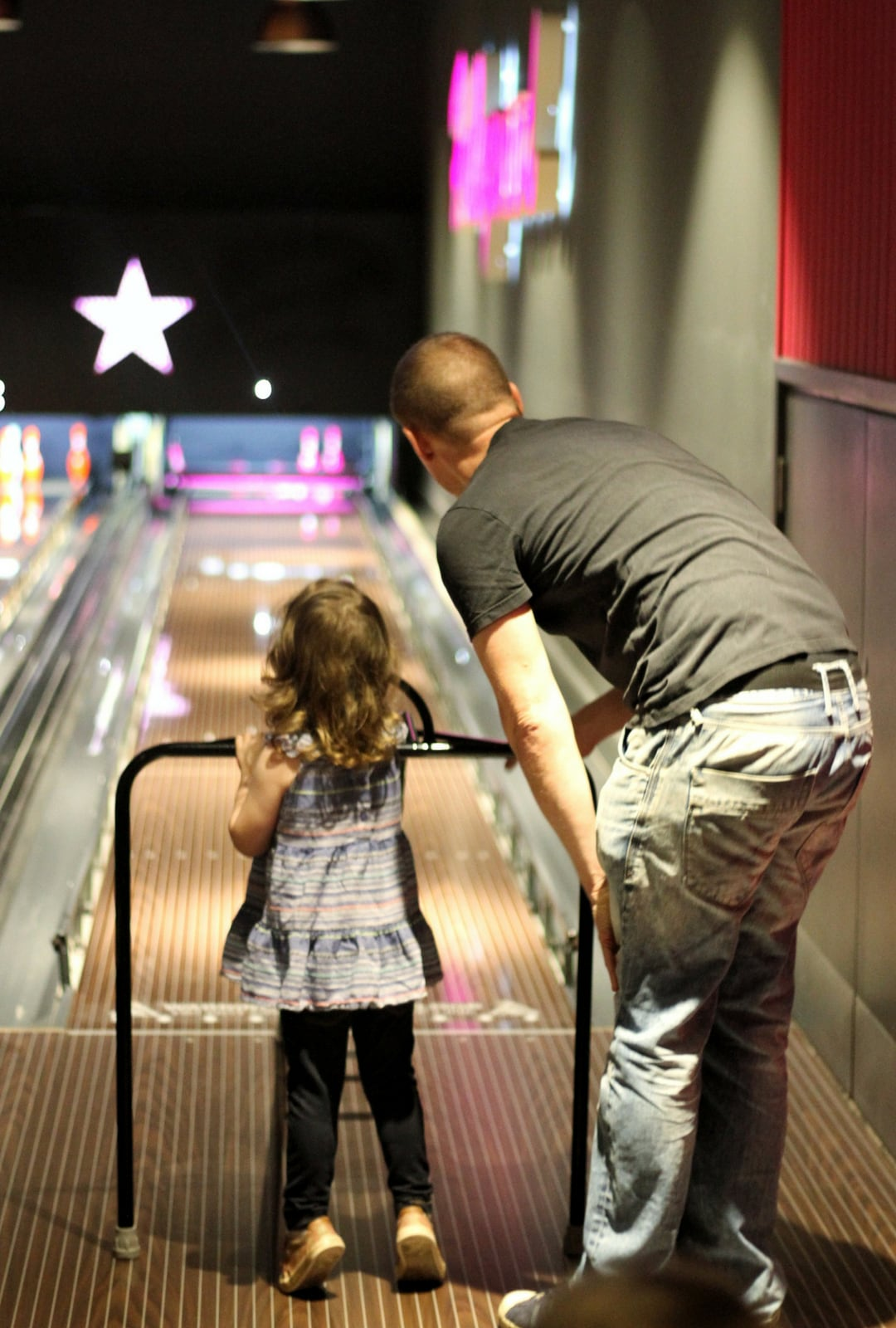 Littlest Bowling with Daddy at Hollywood Bowl