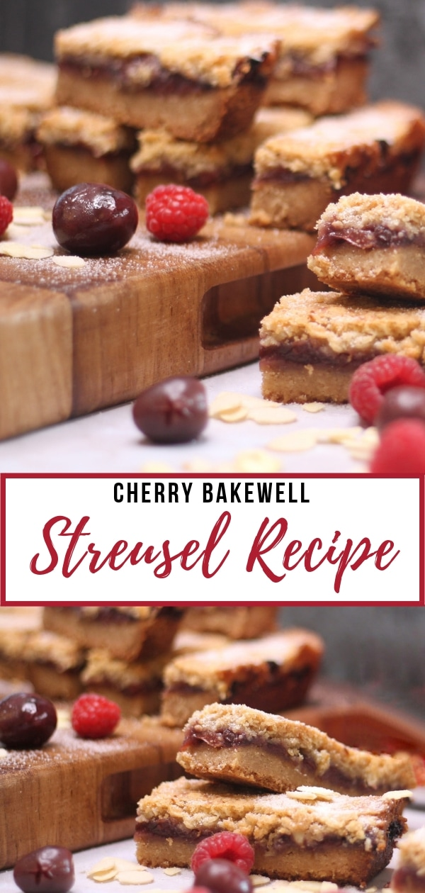 Cherry Bakewell Streusel Recipe - a recipe for making delicious oaty bars with a streusel topping and cherry bakewell layer.