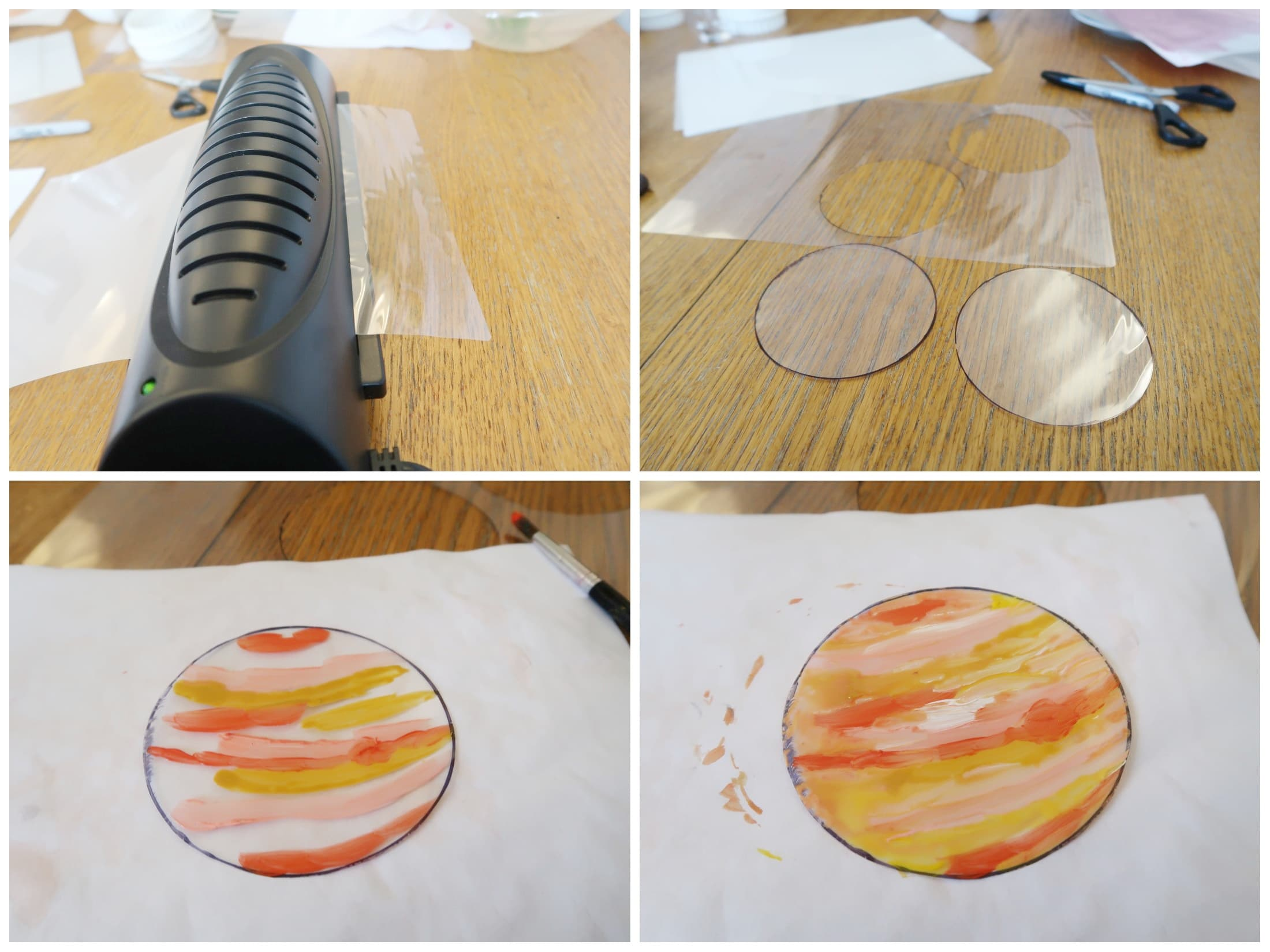 Laminator and clear plastic sheets cut into circles in a collage