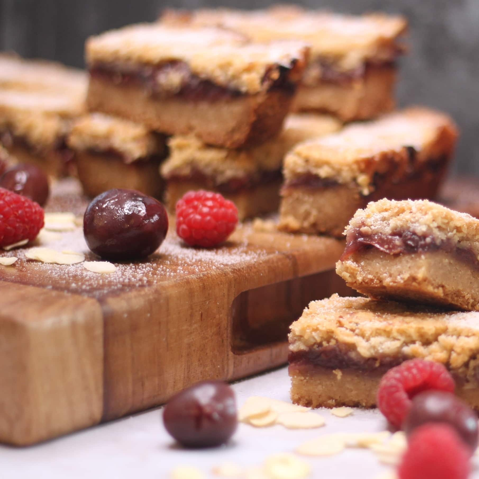 Streusel recipe - cherry bakewell bars
