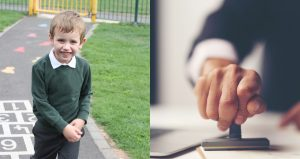 Small boy in uniform on one side, rubber stamp of bureaucracy on the other