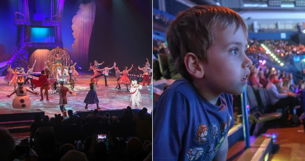 Disney on Ice finale on left and Biggest watching the show on the right