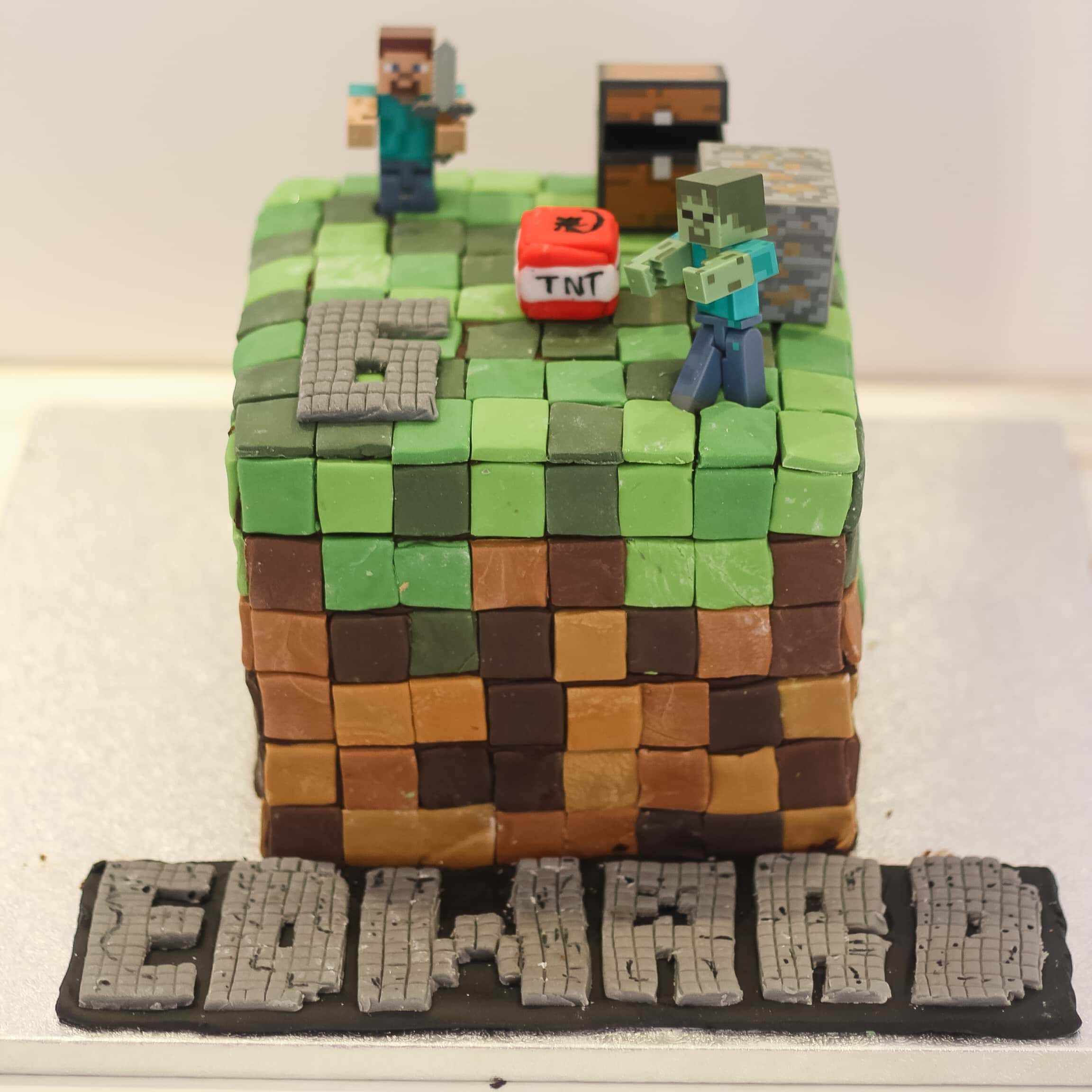 The Minecraft Birthday cake I made for my son's birthday - incuding Minecraft figures that make great Minecraft gifts