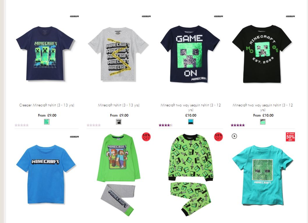 A screenshot of the Minecraft Clothing available on M&Co