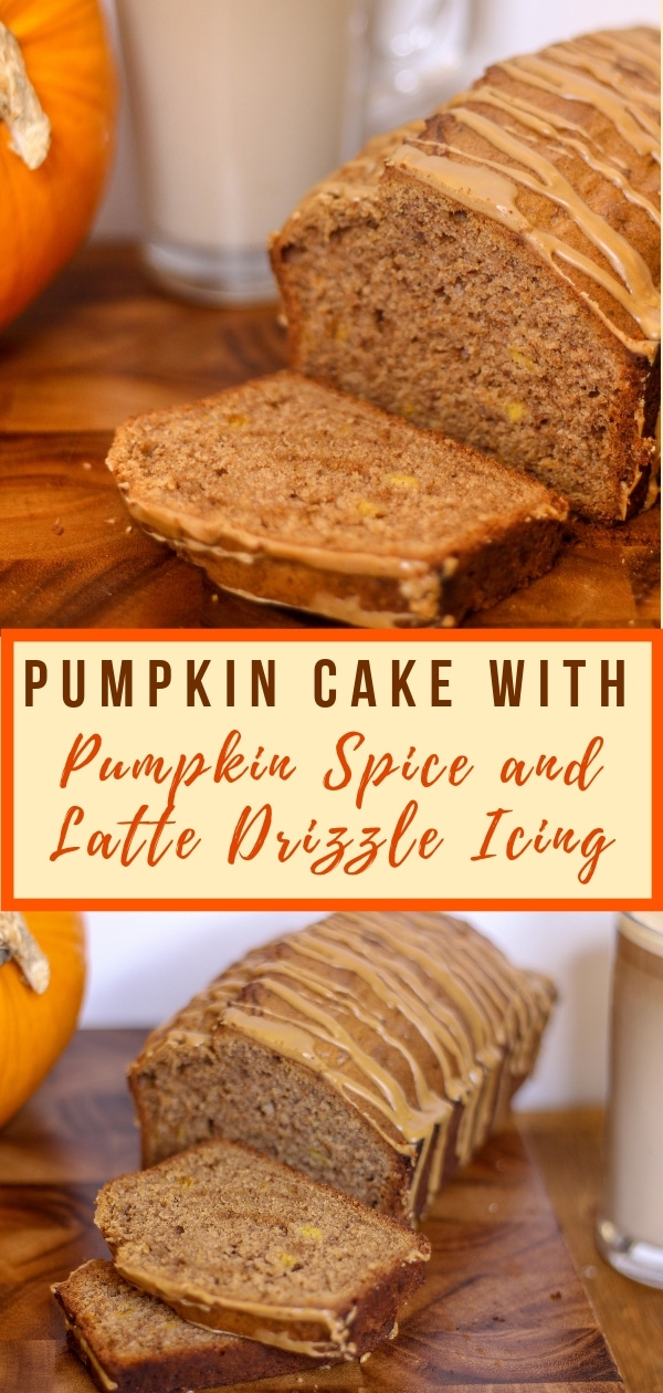 Pumpkin Cake with Pumpkin Spice and Latte Drizle Icing Pin
