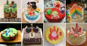 A collage of birthday cakes, including Moana and Minecraft themed