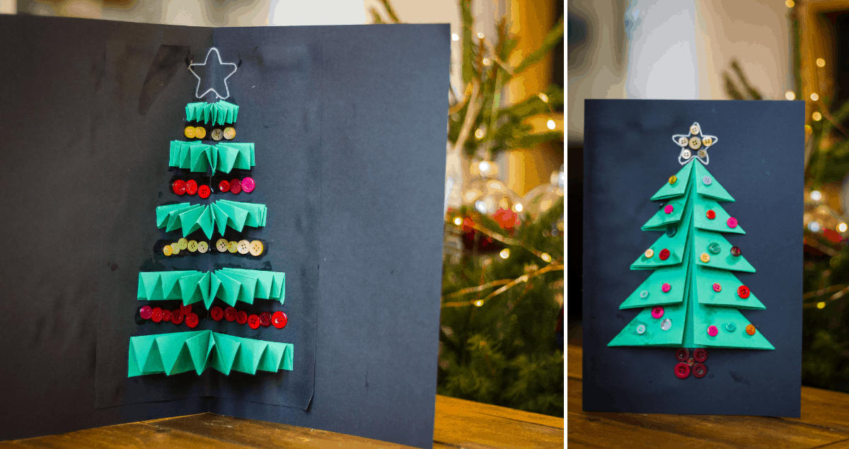 Christmas Tree Card Craft for Kids Using Folded Paper
