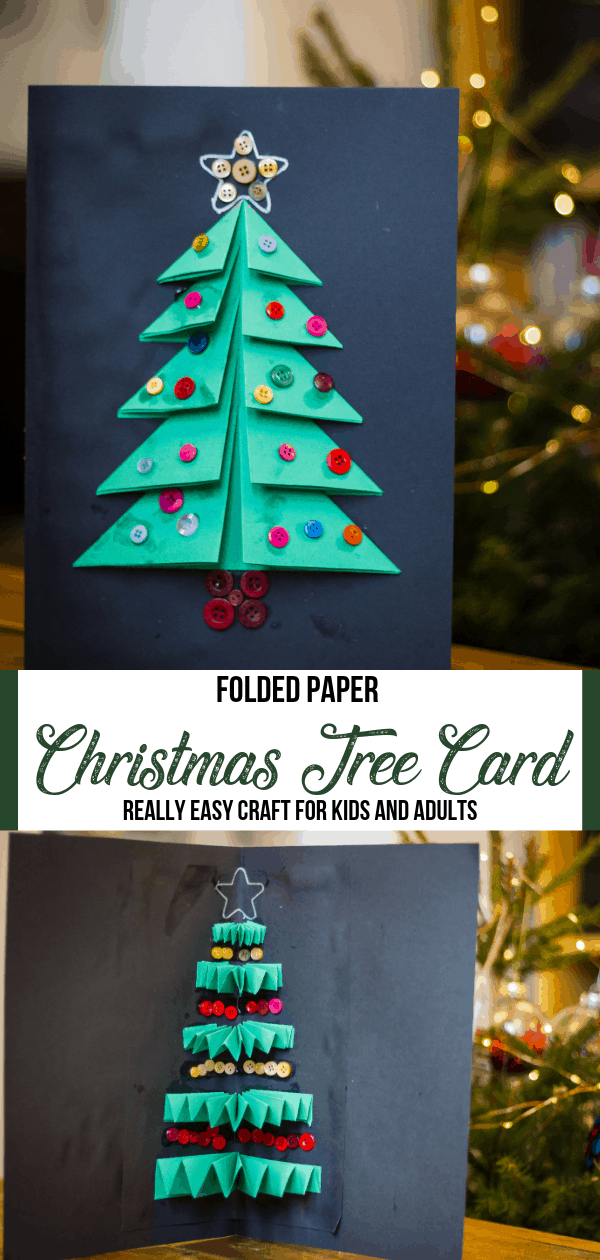 Christmas Tree Card Craft with folded paper pin