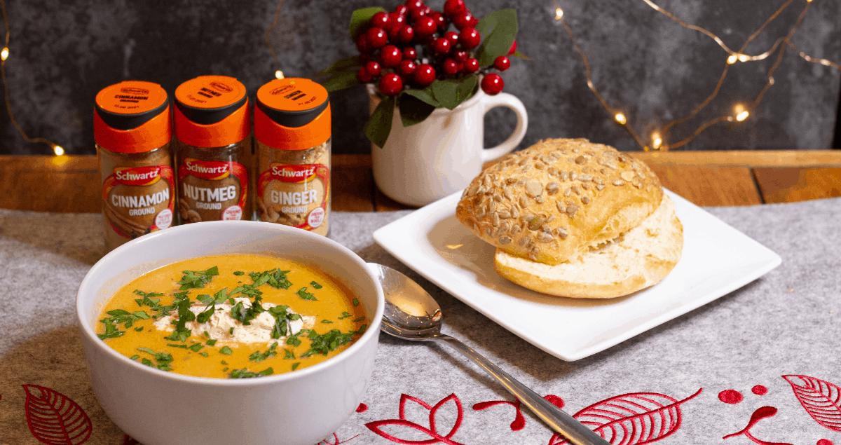 Butternut Squash Soup with Cinnamon Cream