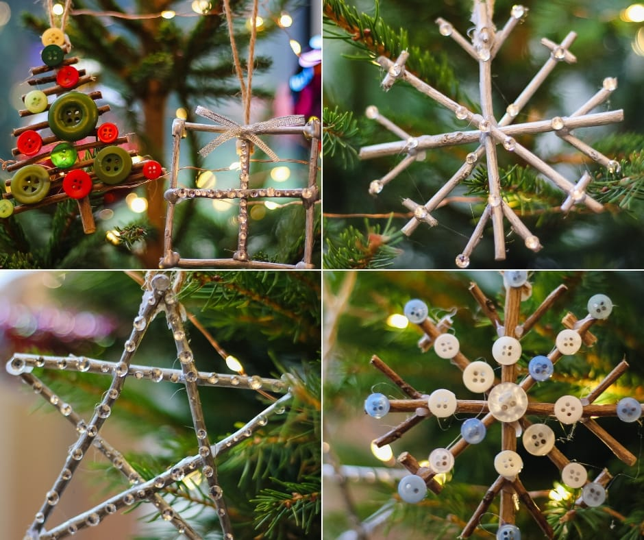 DIY Christmas Ornaments on the tree - tree shape, star shape and snowflake shape