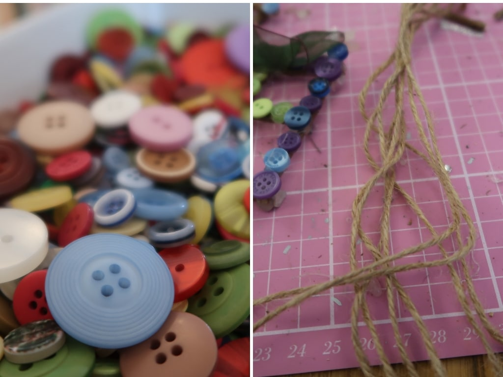 DIY Christmas ornaments - string and buttons