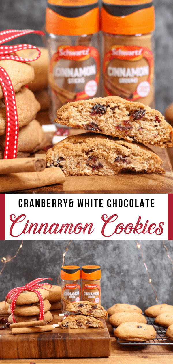 Cranberry and White Chocolate Cookies with Cinnamon