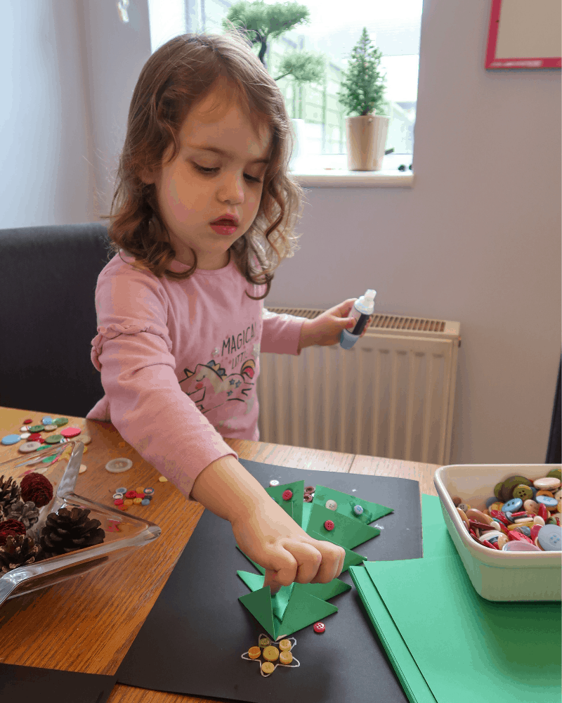 Littlest decorating our Christmas Tree Card Craft