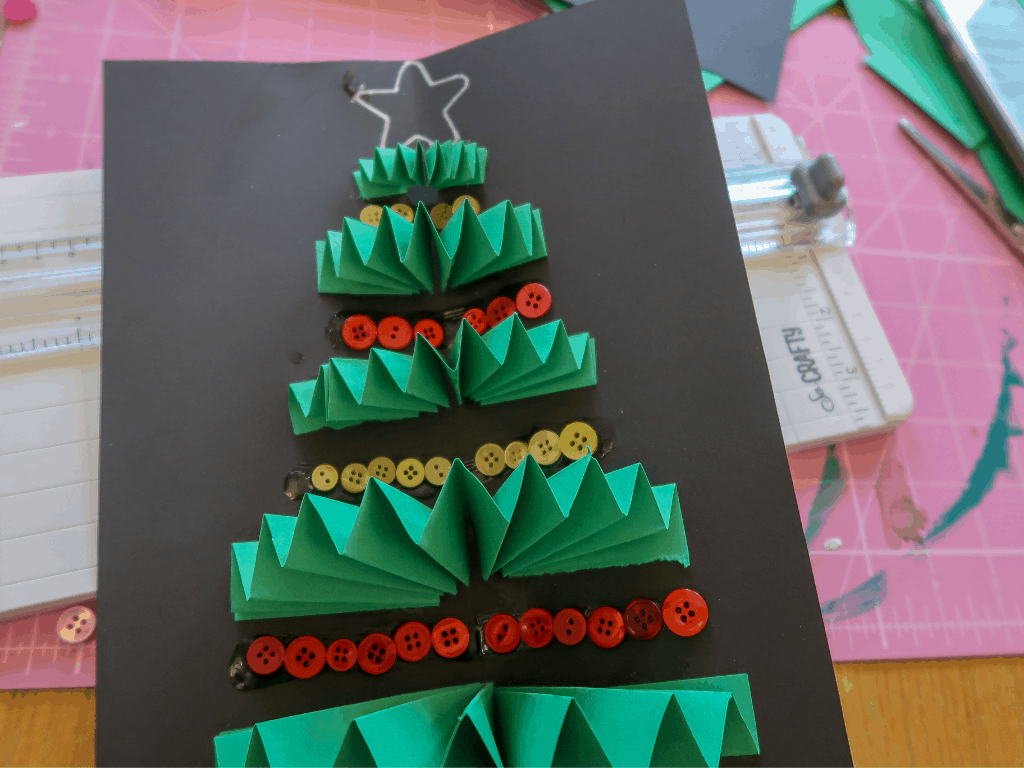 Inside tree for Christmas Tree Card craft