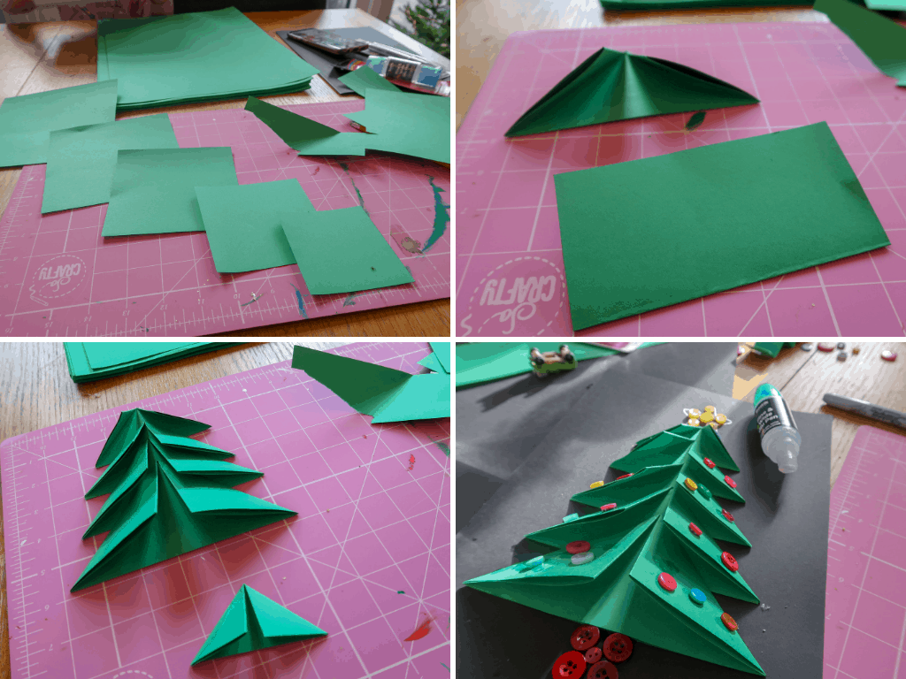 Method for creating the tree on the front of the Christmas tree card craft