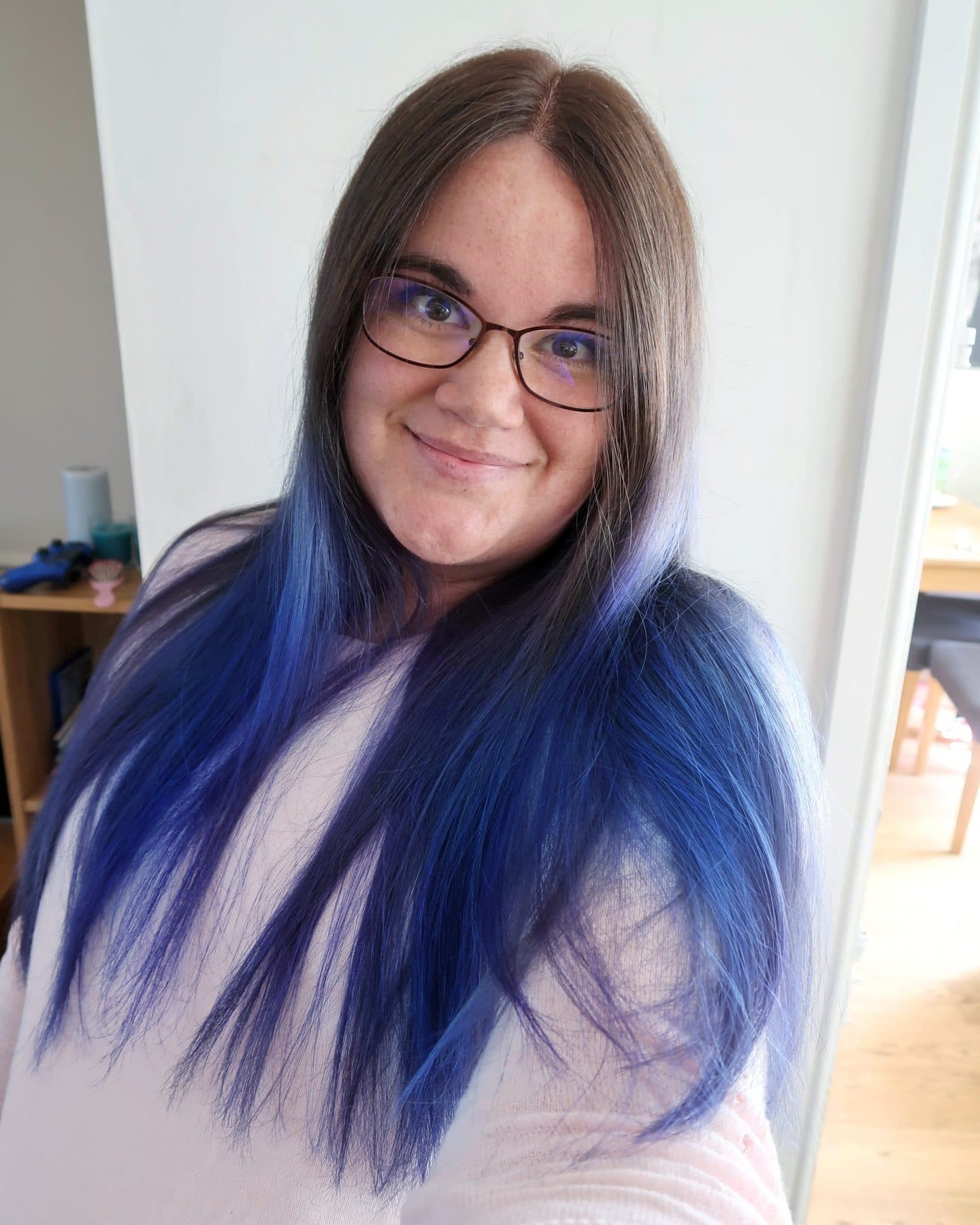 A selfie of me - with blue hair