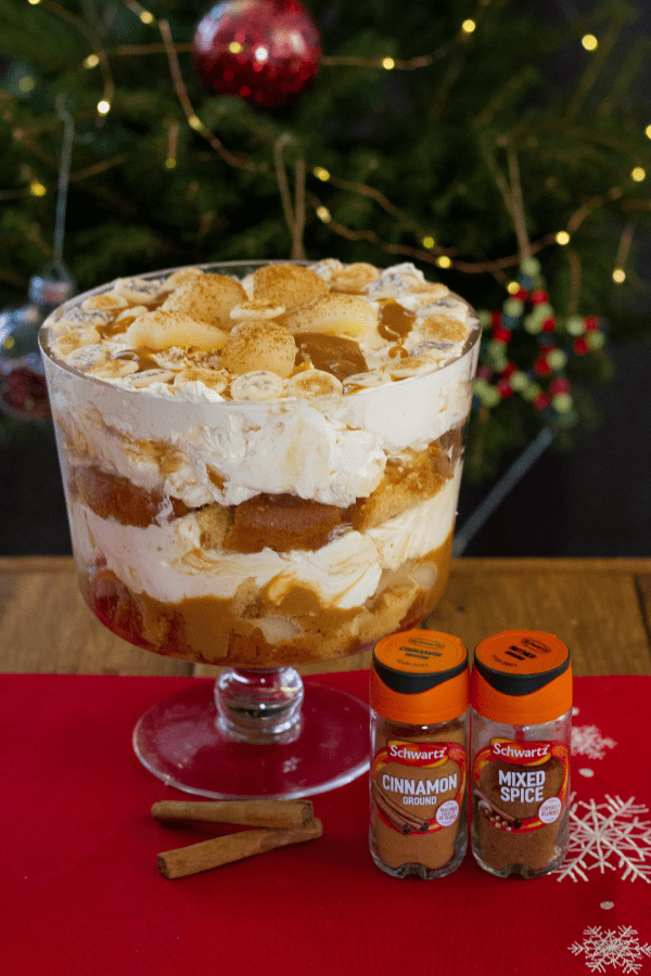 Portrait pear and caramel trifle with jazzies