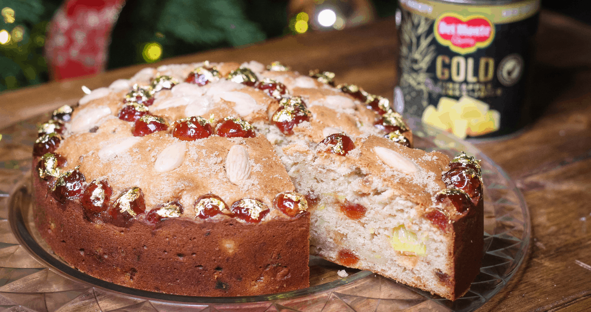 Golden Pineapple, Cherry & Banana Cake with Del Monte Gold Pineapple