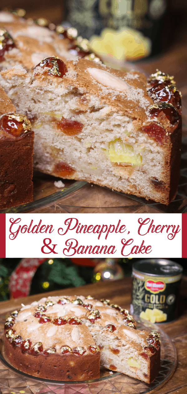 Golden Pineapple, Cherry and Banana Cake
