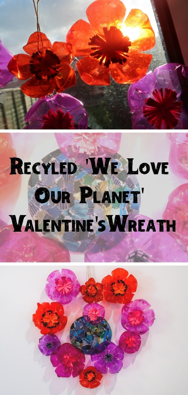 Recycled 'We Love Our Planet' Valentine's Wreath Craft pin showing images of flowers, planet abnd finished heart wreath.