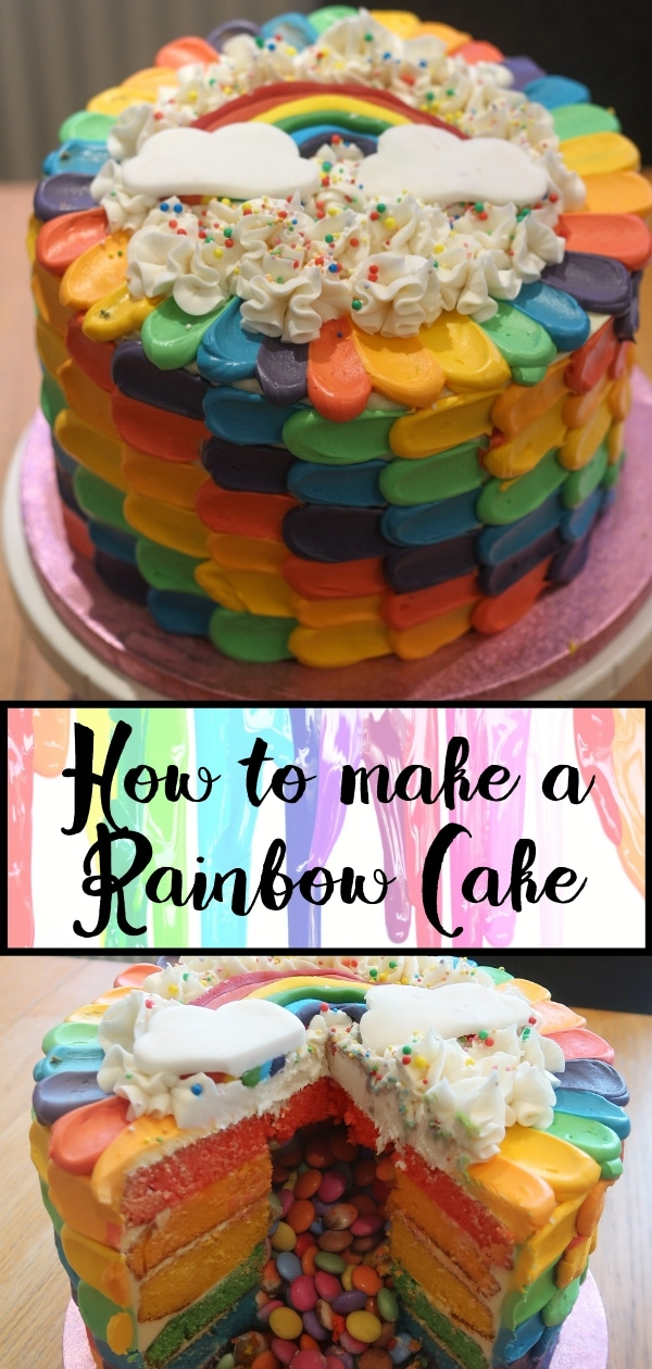 Pin for How to make a rainbow cake