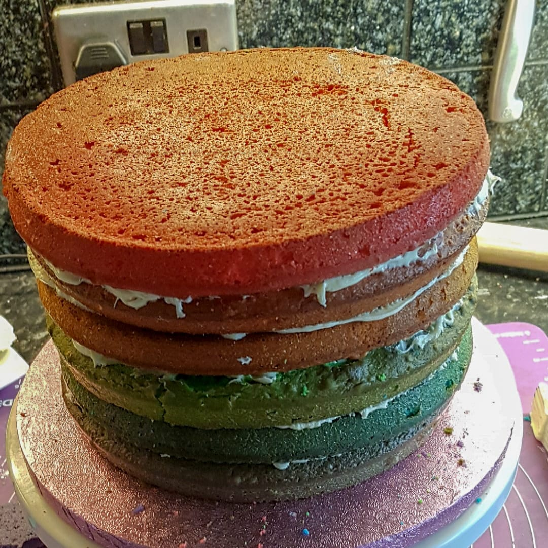 Stacked 6 layer rainbow cake without icing
