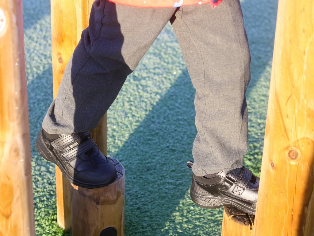 Treads in action on the play equipment.