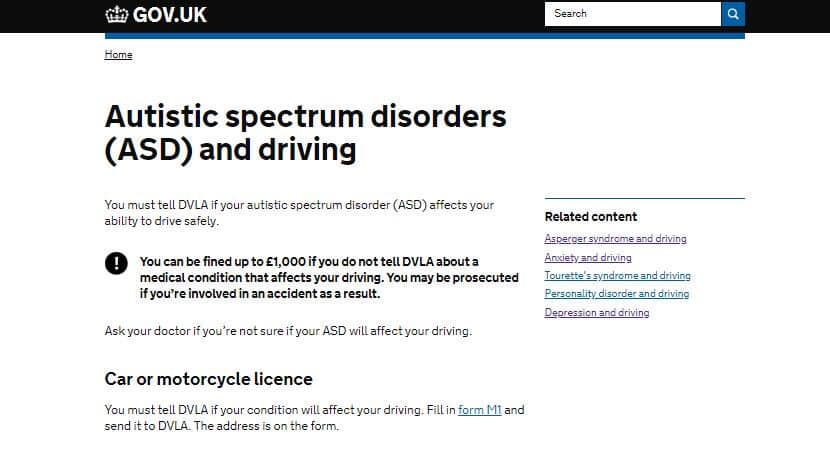"DVLA wording on autism now says ""You must tell the DVLA is your autistic spectrum disorder affects your ability to drive safely."""