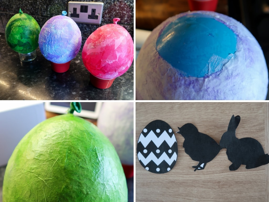 Stages of making paper Mache Easter Lanterns