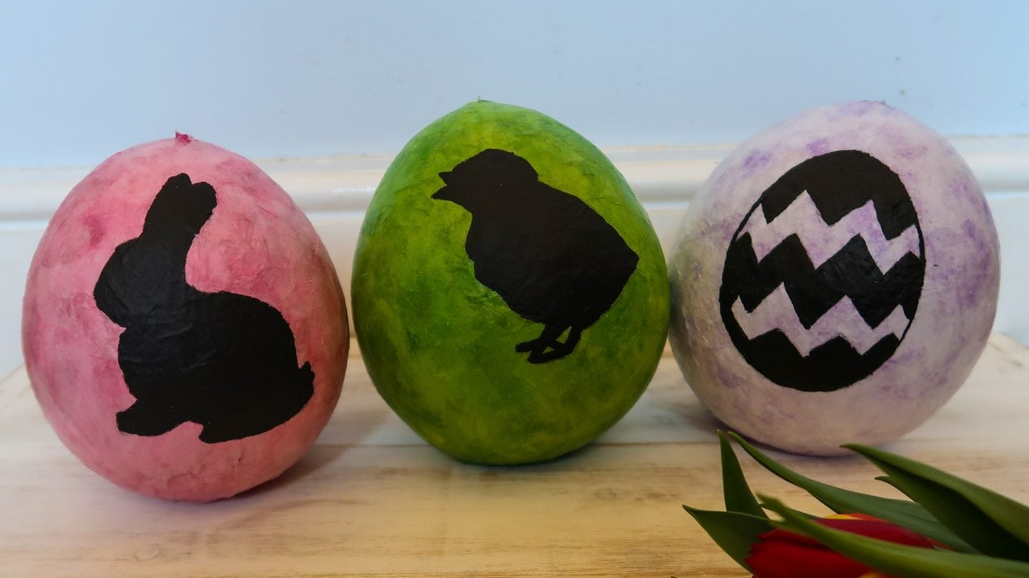 Finished Paper Mache Easter Eggs