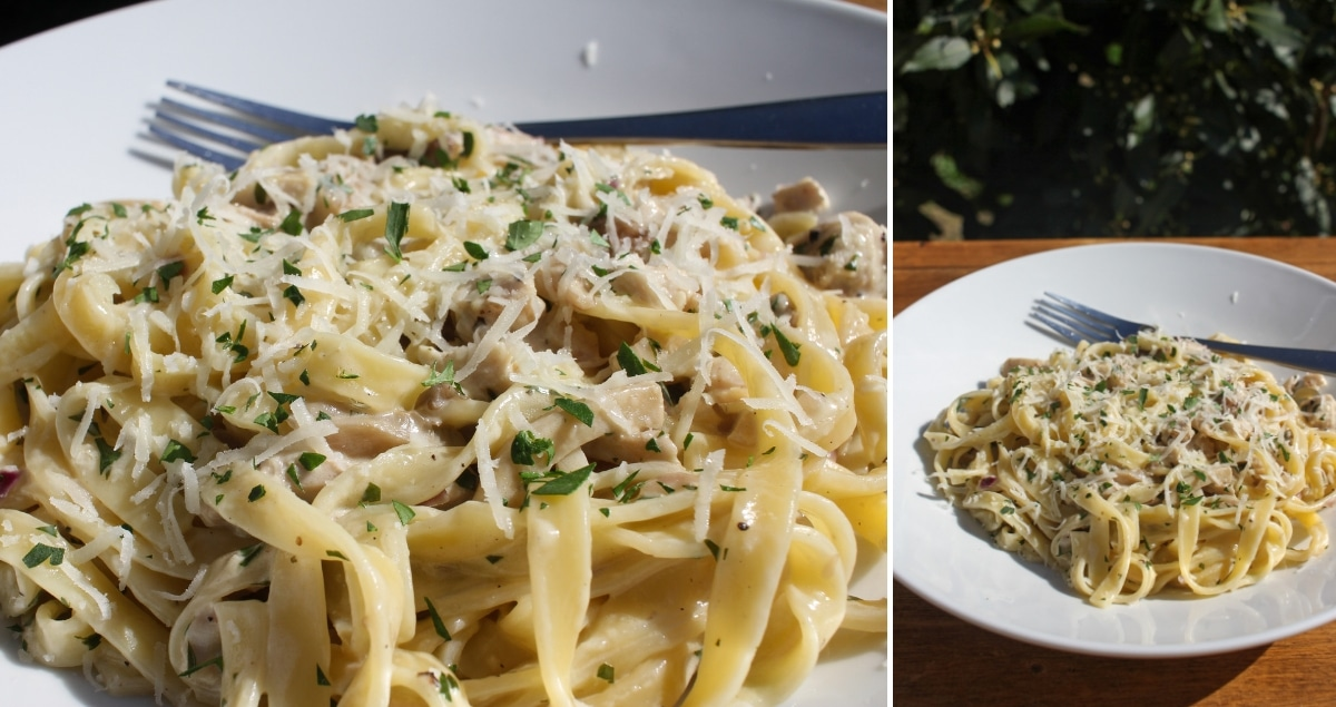 Wild Mushroom and Chicken Tagliatelle with Fresh Parsley