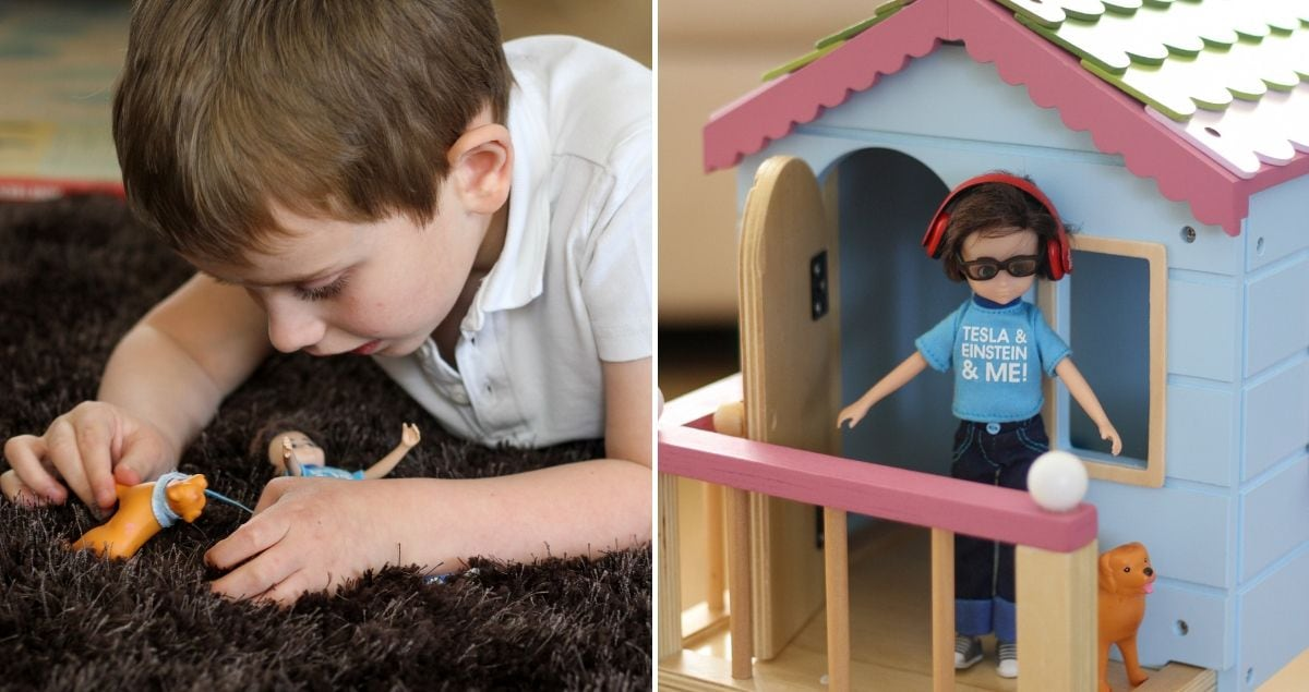 left side of image shows boy playing with doll with headphones on. Right side shows Loyal companion autistic doll against doll's house.