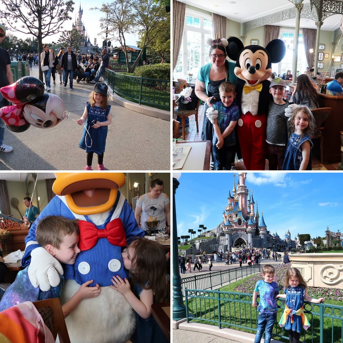 A collage of pictures from Disneyland Paris, inclusing in front of the castle and meeting mickey mouse