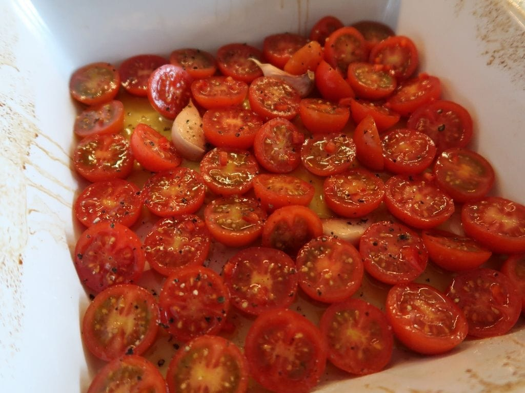 cherry tomatoes in tray for Potato and Tomato Aglione