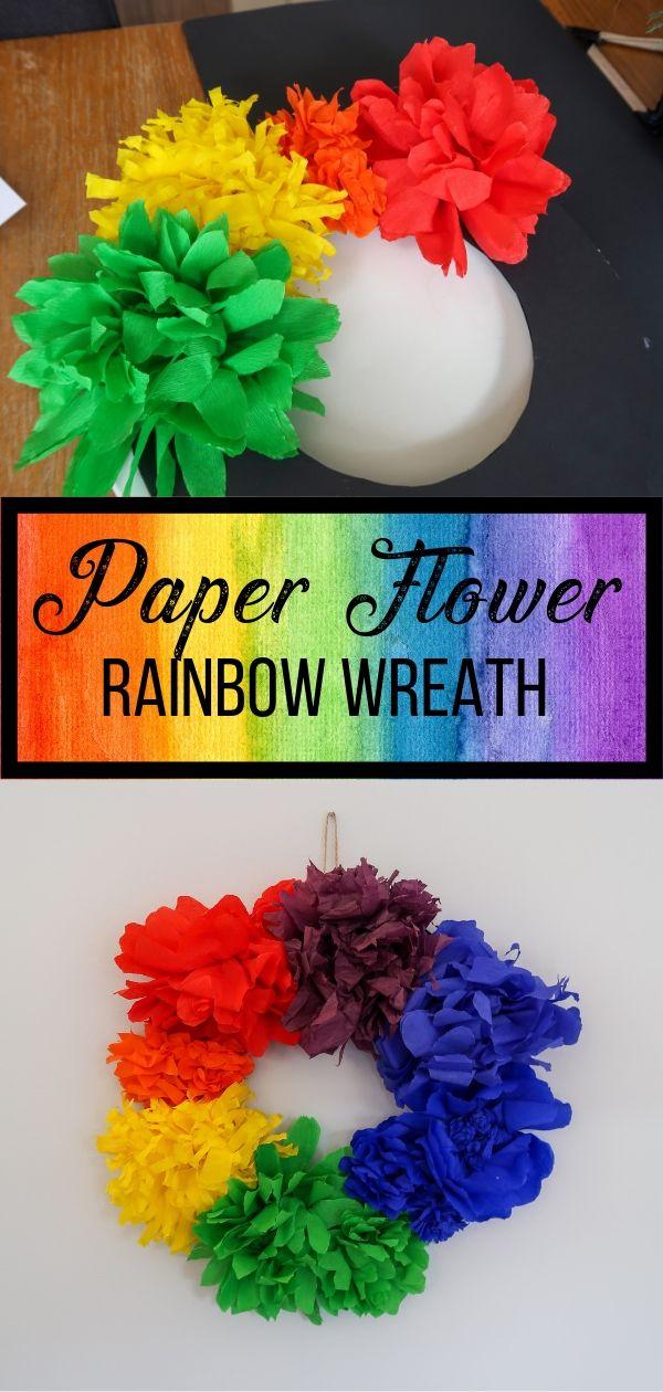 Rainbow Paper Flower Wreath pin