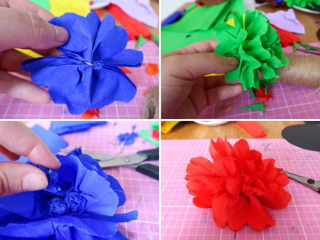 Several images of making the flowers