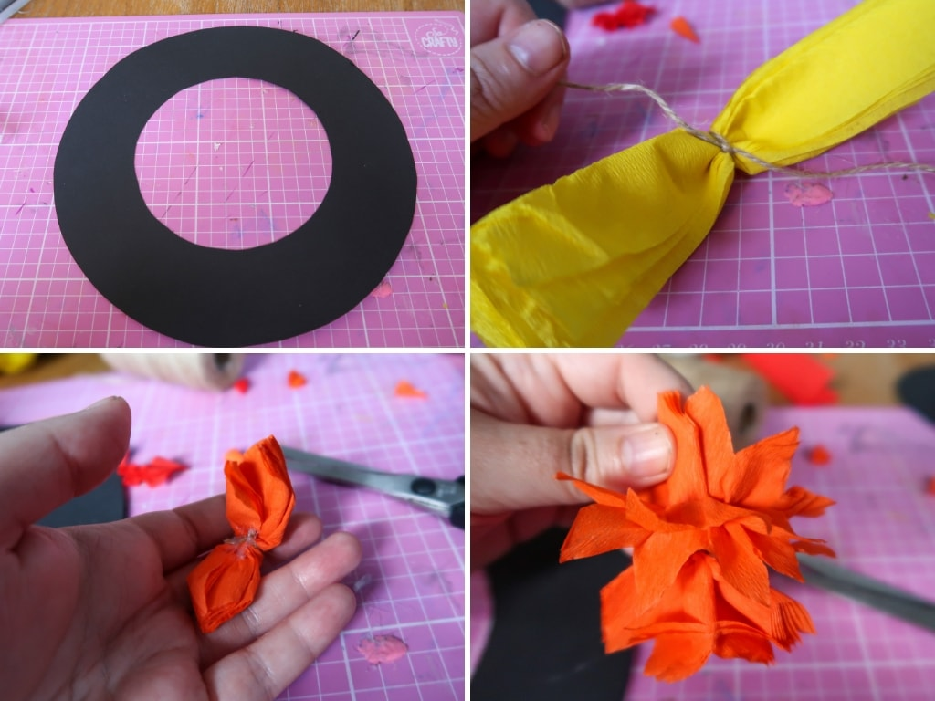 Images to show the stages of making paper flowers