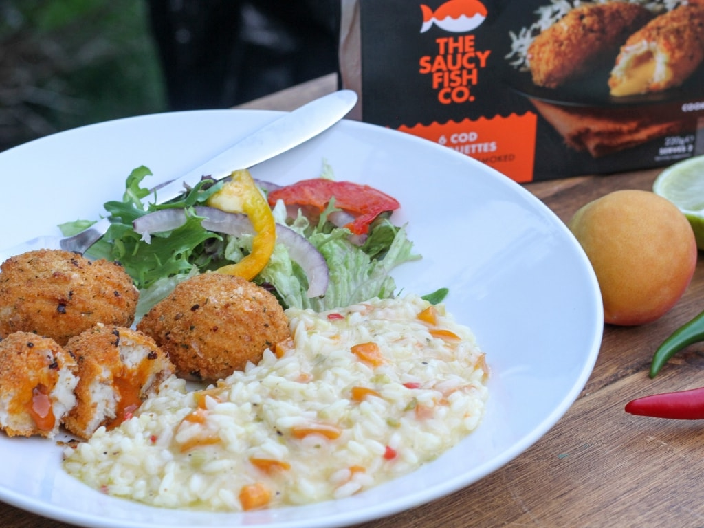 finished apricot risotto with The Saucy Fish Co Cod croquettes
