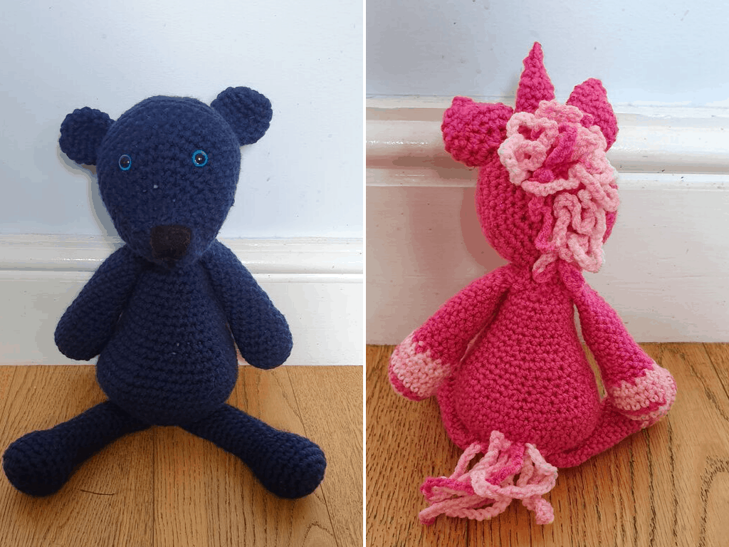 crochet bear and unicorn
