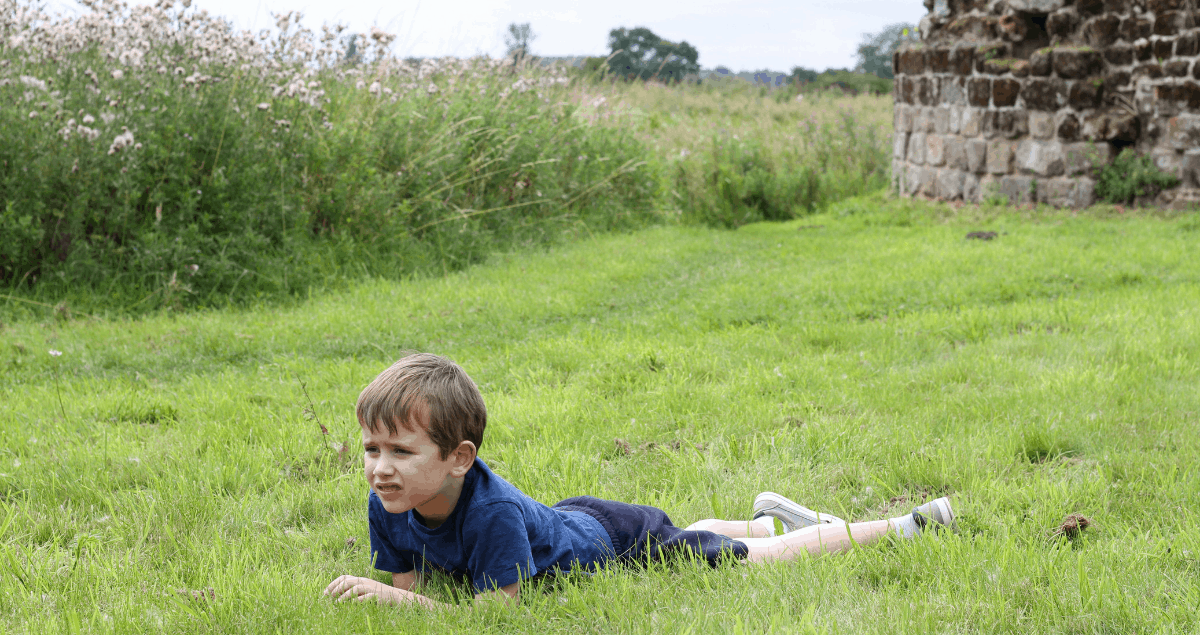 A boy lying on his front in long grass with castle ruins in the background - A Melatonin muddle