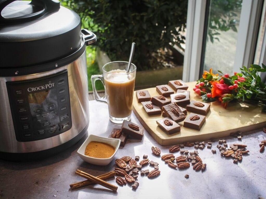 Crock-Pot next to Caramel and Pumpkin Spice Fudge