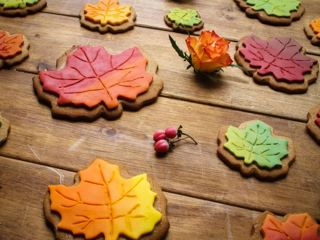 side view of spiced maple leaf cookies in autumn colours