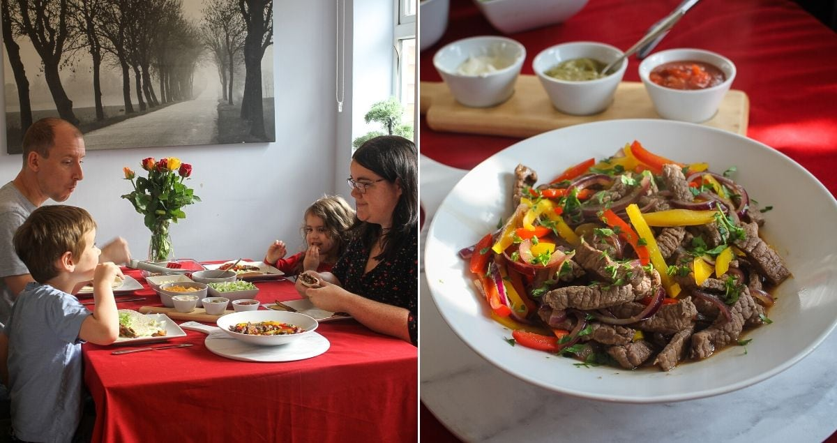 Family eating a meal on the left, close up of beef fajitas with honey and garlic sauce on the right