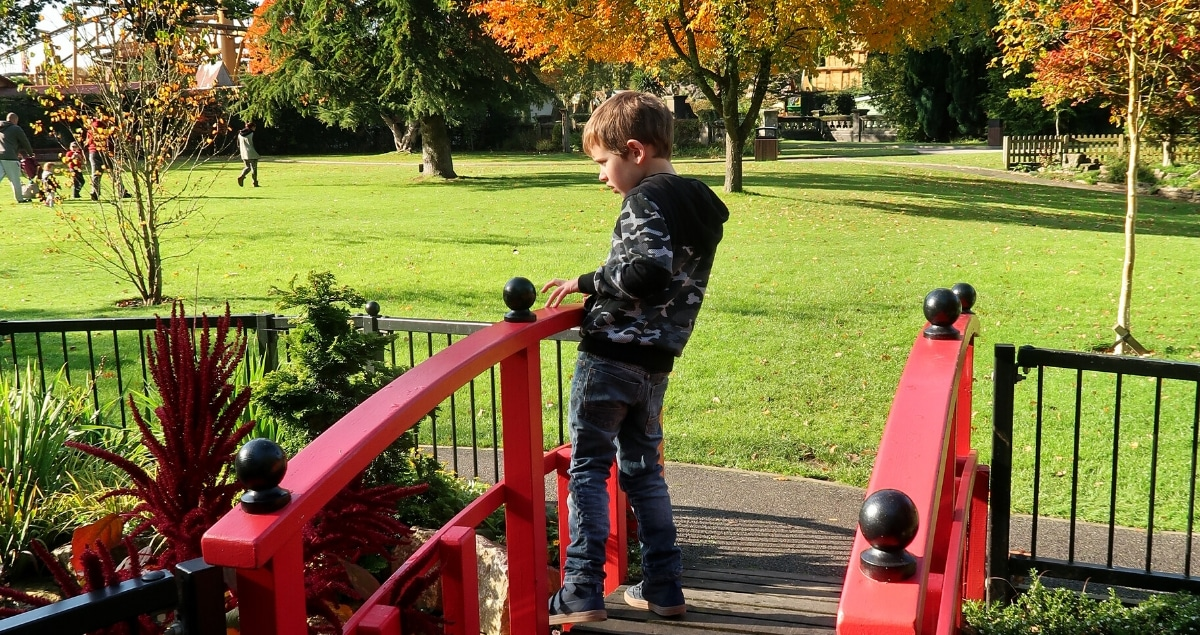 Boy in black clothes on a red bridge in a garden