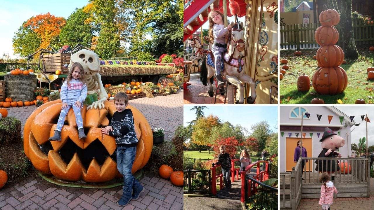 Collage of pictures from Paulton's Park with children posing