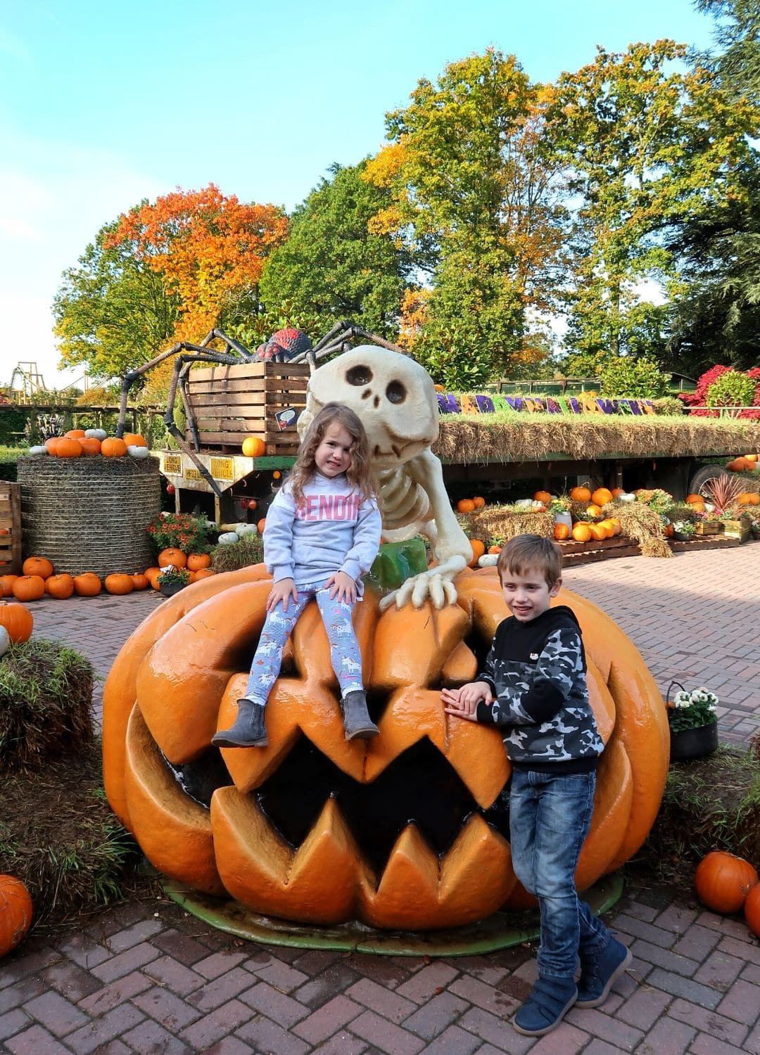 Giant Pumpkin outside Paulton's Park with Biggest and Littlest posing - Paulton's Park review